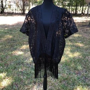 Shoreline black open front coverup